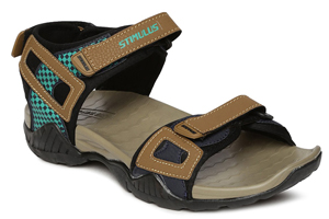 A sandal with colour combination of beige and black.