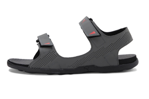 A sandal with colour combination of black and red.