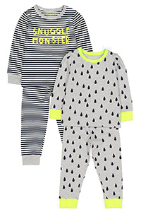 Pack of 2 Pyjamas Set of colours black and light grey.