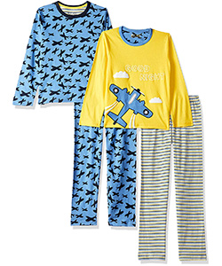 Pack of 2 Pyjamas Set with colours light blue and yellow.