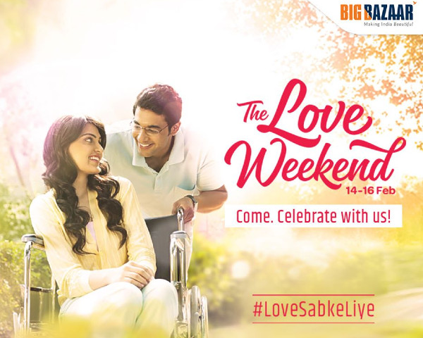 Image of a couple - The Love Weekend 14-16 Feb Walk-a-thon on 15th February #LoveSabkeLiye Register now along with Big Bazaar logo