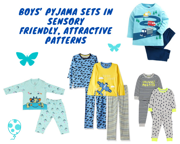 Sets of pyjamas in different colours along with the text Boy's pyjama sets in sesory friendly,attractive patterns