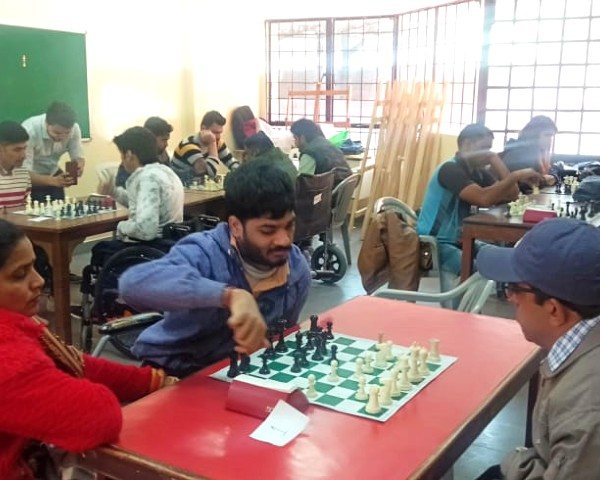 Players at chess tournament for physically disabled