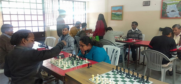 Participants in the first Delhi championship in physically disabled chess.