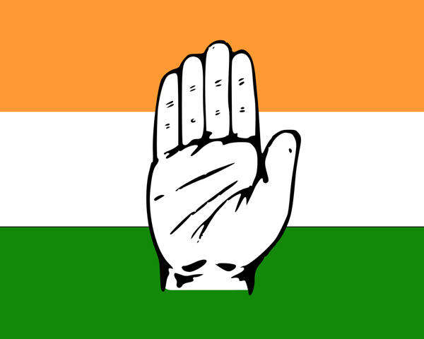 Congress Party logo of a hand set against the Indian flag
