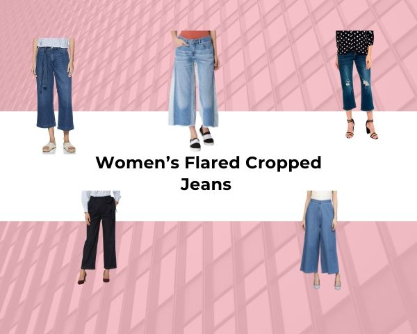 Women's Flared Cropped Jeans wriiten in pink background with models wearing different flared jeans in the background