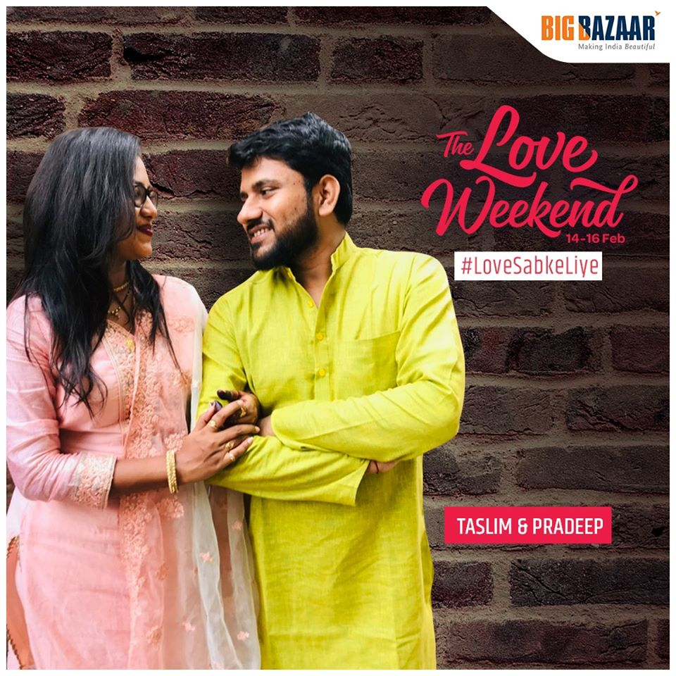 Pradeep More and Taslim Shaikh looking at each other - The Love Weekend 14-16 feb #LoveSabkeLiye along with the logo of Big Bazaar.