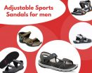 Adjustable sports for men text along with five images of sandals in circles.