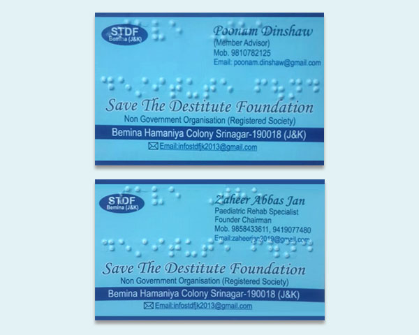 Destitute Foundation Braille visiting cards