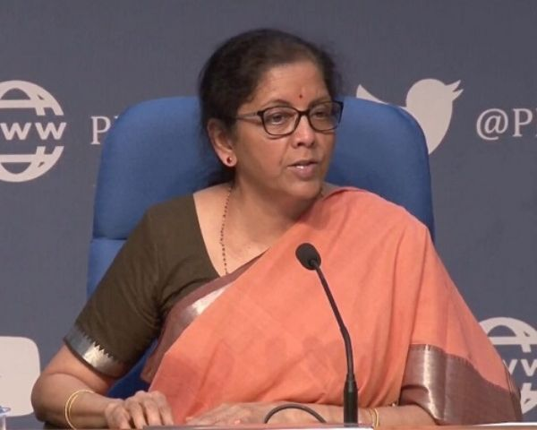 Close view of Nirmala Sitharaman addressing in a conference