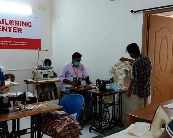 Members of the tailoring unit at Sri Arunodayam Charitable Trust