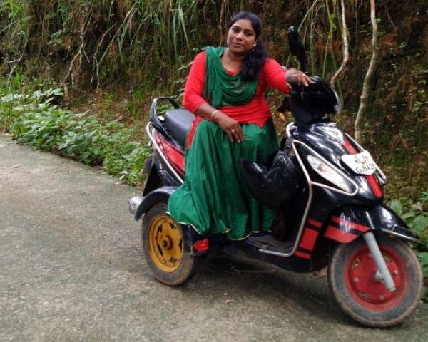 amina sitting on scooter