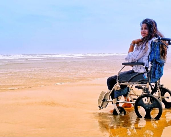 athira bhaskar on wheelchair