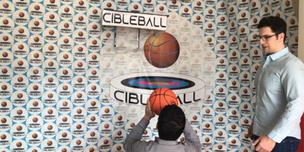 A cibleball game in progress.