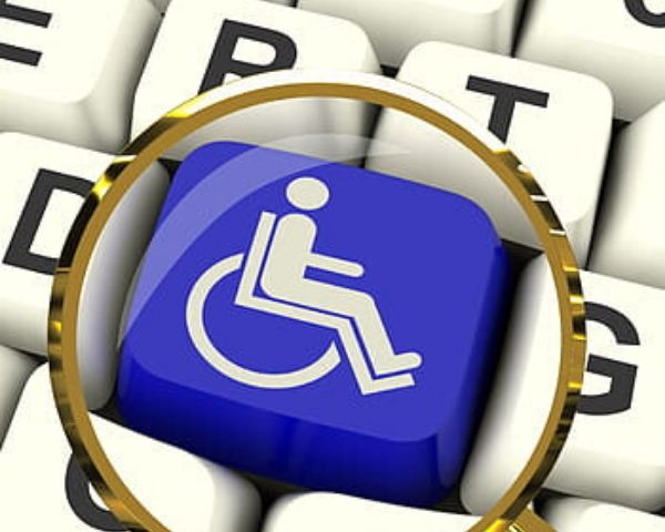 Computer keyboard with wheelchair image