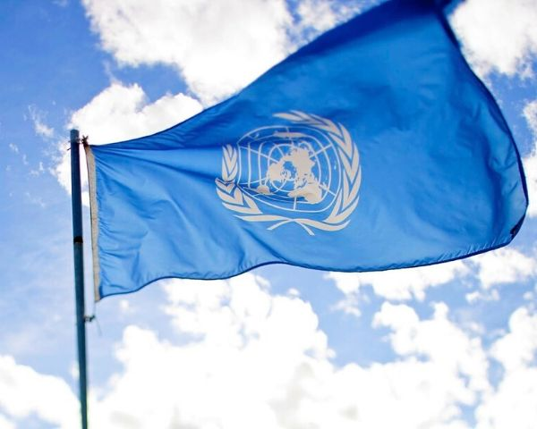 Blue-coloured flag of United Nations