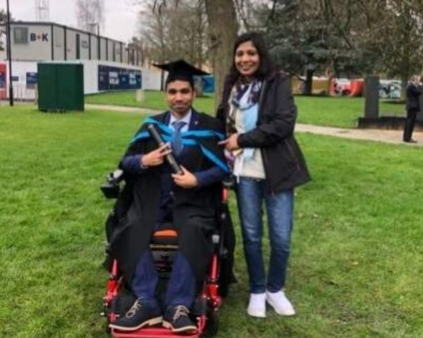 Ankit Agarwal in his graduation robes with his mother