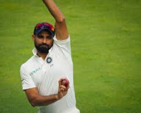 Mohammed Shami bowling on the cricket field