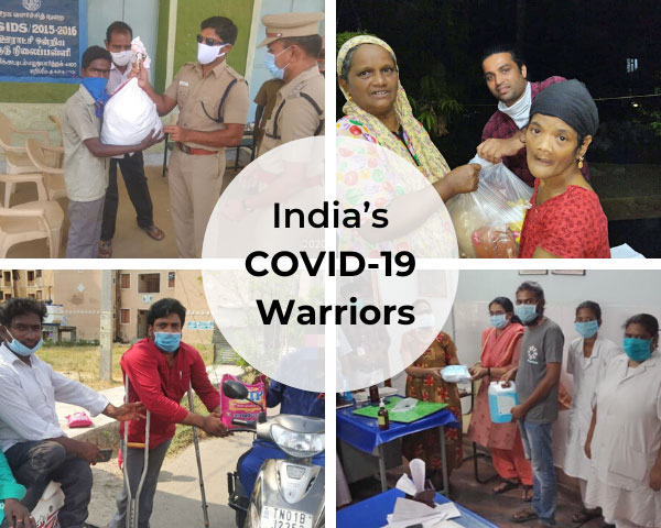 Combined images of NGOs featured with the words India's Covid Warriors