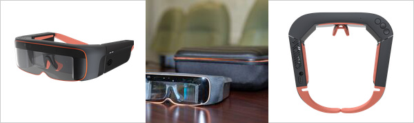 First image in the picture is Overhead image of Pro Smart Glasses in colours of black and light orange. Second image is images of the lenses of the Pro Smart glasses in colours of black and grey. Third image is side view image of the Pro Smart glasses.