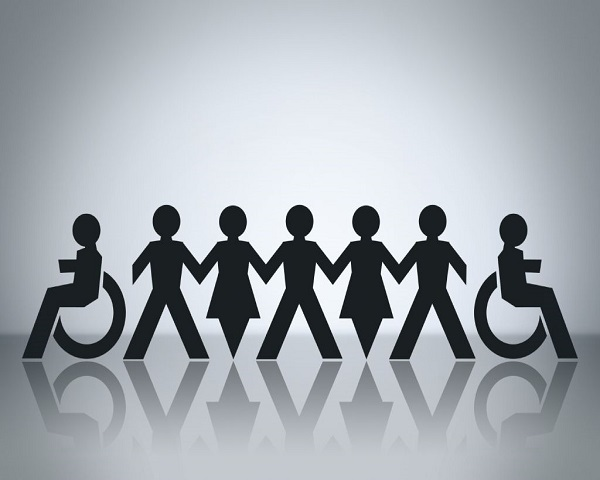 Stick figure of men and women in a straight line joining hands including people with disabilities.