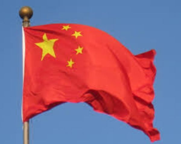 China flag in red colour with yellow stars