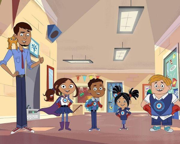 The four superheroes with their teacher