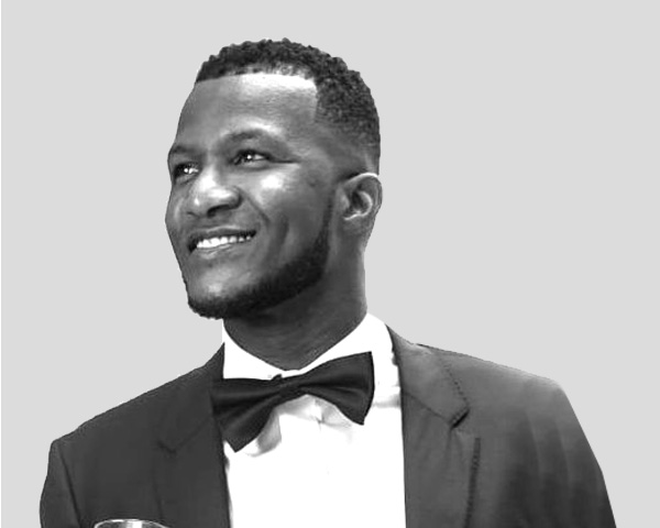 Black and white picture of Darren Sammy