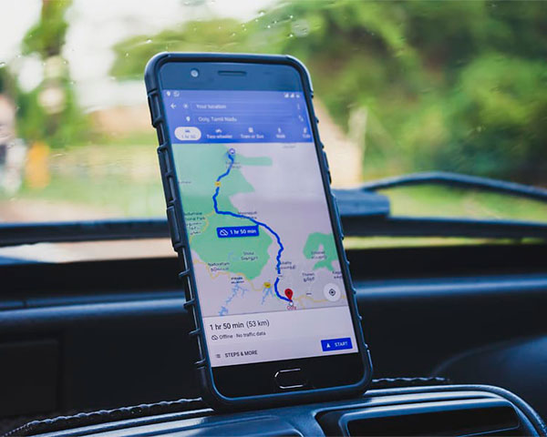 Phone showing Google Maps feature