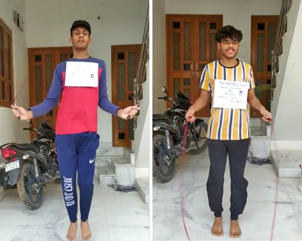 Amitasha N. Mishra and Sahil Singh skipping in virtual competition.
