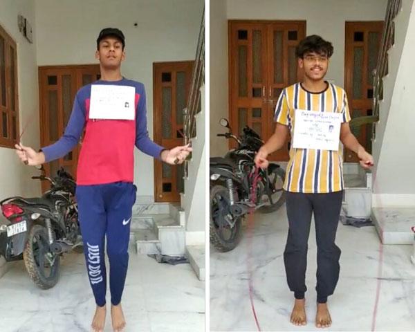 Amitasha N. Mishra and Sahil Singh skipping in virtual competition.