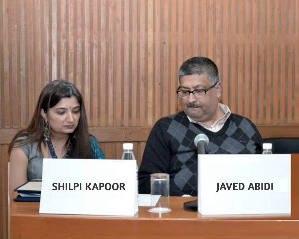 Shilpi Kapoor and Javed Abidi seated together.