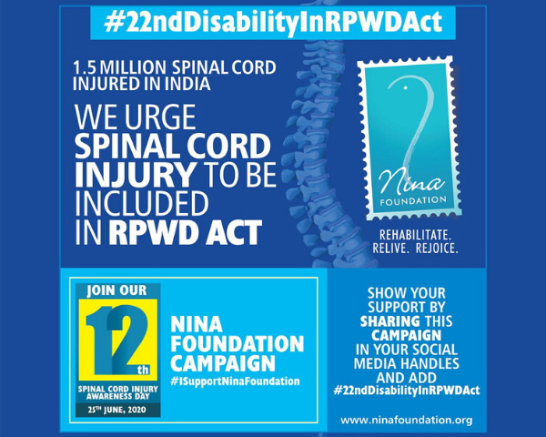 Campaign banner urging spinal cord injuries to be listed as a separate disability.