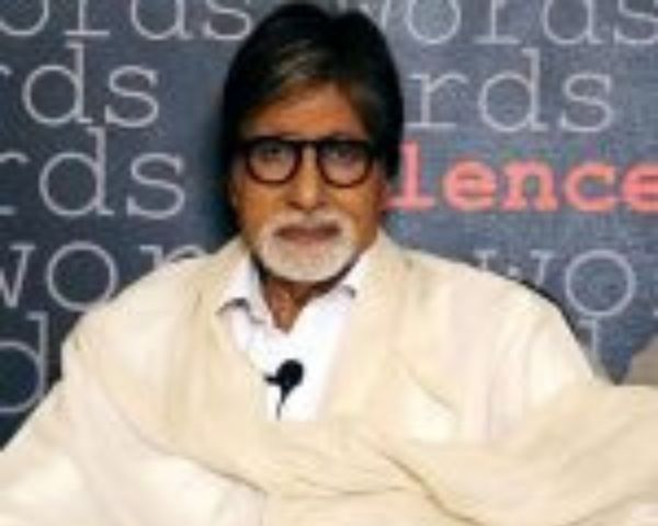 Amitabh Bachchan in cream coloured shawl