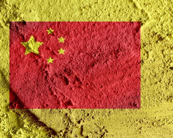 China flag made up of yellow stars on a red background