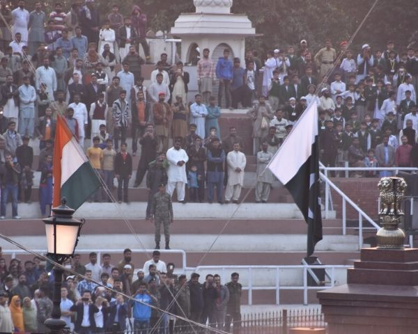 Flags of India and Pakistan at the Wagah border