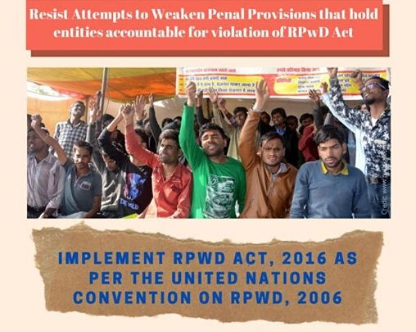 Image of protestors with the words ll attempts to weaken penal provisions that hold entituies accountable for violation of RPWD Act must be resisted