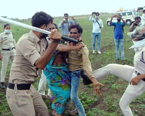 video of madhya pradesh couple beaten by cops