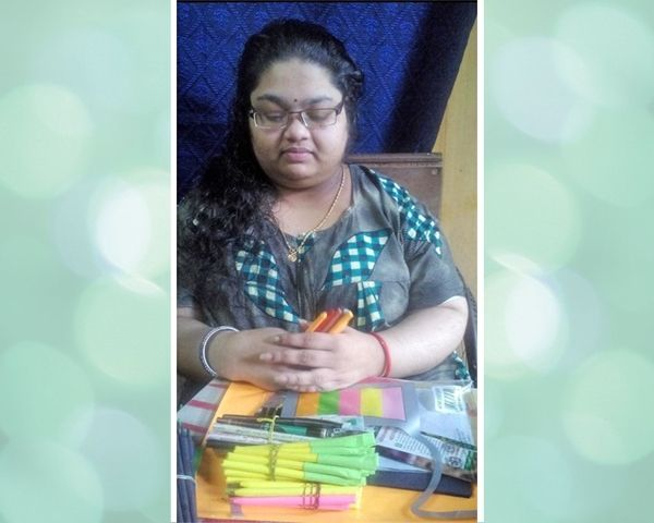ranjini with paper pens