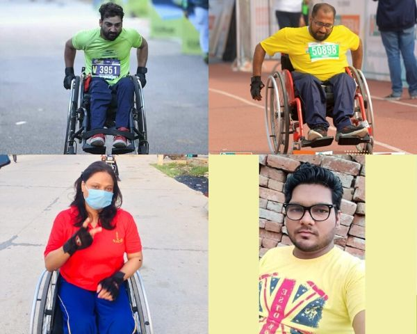 Some of the participants in the virtual marathon organised by Walk on Wheels.