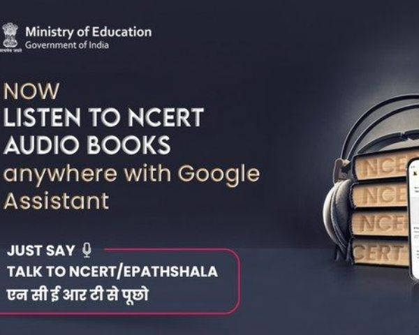 Image of Ministry of Education logo with the words listen to NCERT textbooks on Google Assistant