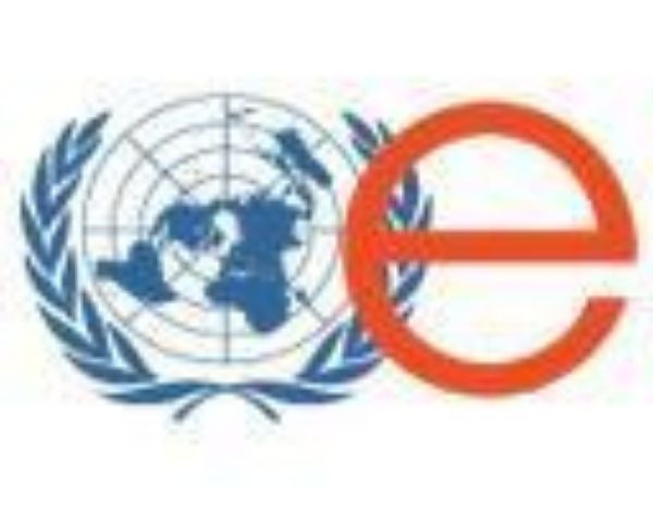 Logo of United Enable with the globe in blue colour and letter e in red