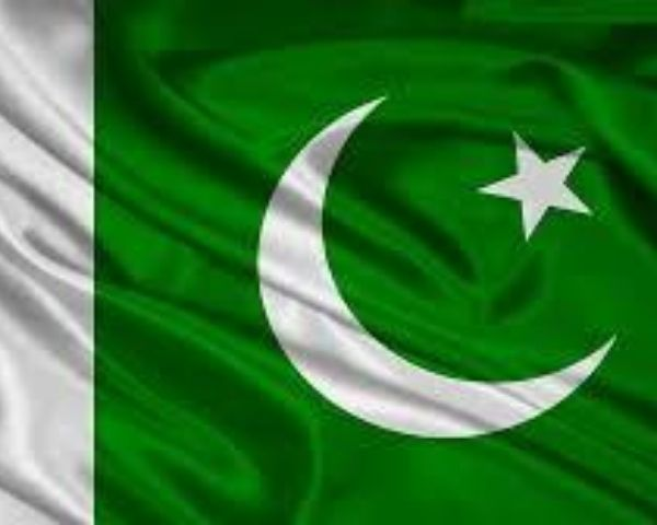 Flag of Pakistan in green and white colours with a half crescent and star in white