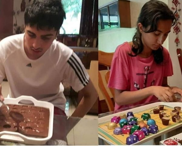 Sachin and Diya Sharan are packaging chocolates in this picture