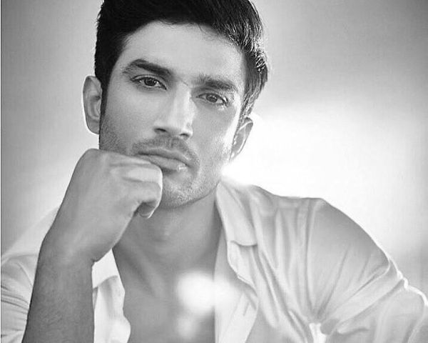 Black and white phote of sushant singh rajput