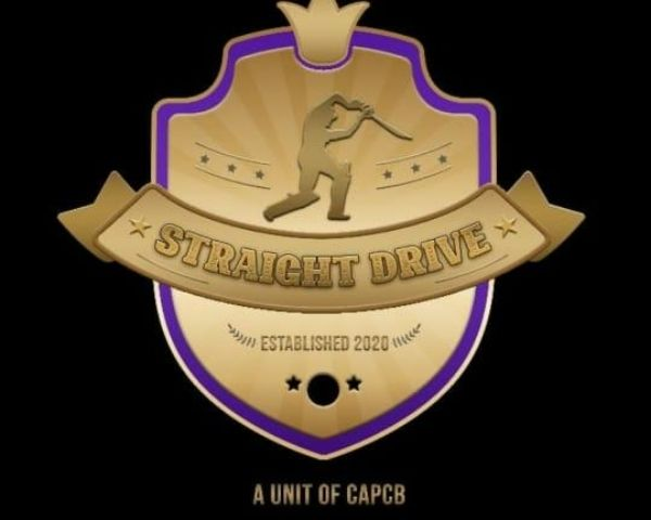 Gold and purple logo with the words Straight Drive Cricket Academy