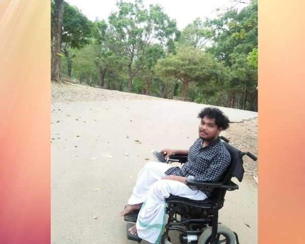 a man sitting on wheelchair