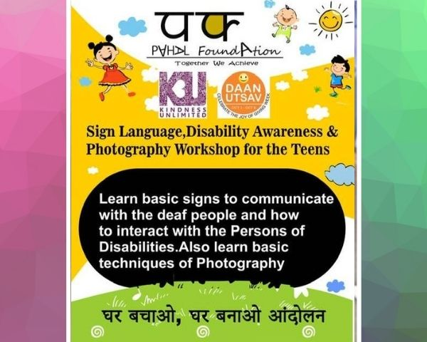 Banner of the sign language and photography session