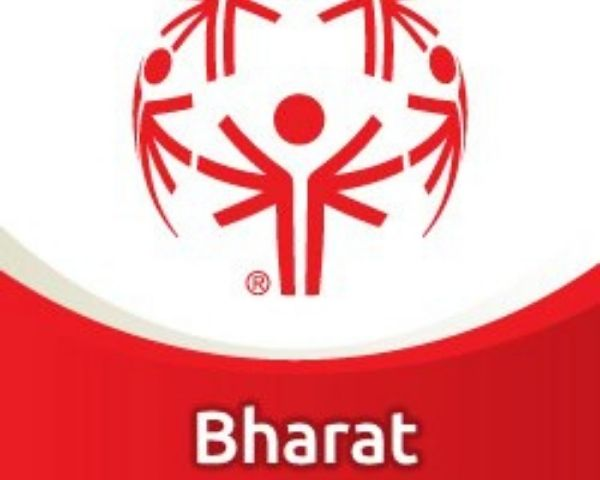 Red and white logo of Special Olympics Bharat