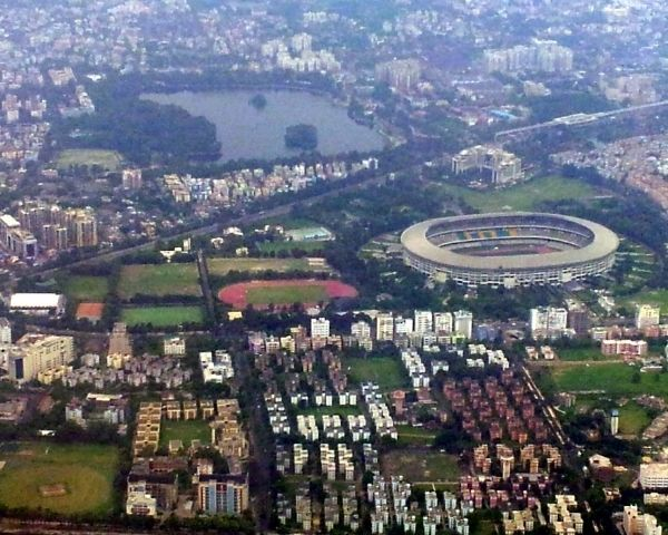 Aerial view of Kolkata city